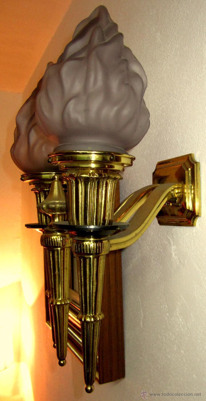 Antigüedades: GRAN APLIQUE DE BRONCE Y FLAMAS DE CRISTAL - Foto 2 - 48185599