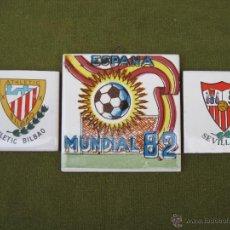 Antigüedades: LOTE DE 3 AZULEJOS - FUTBOL - ESPAÑA 82 - AZULEJO.. Lote 48222714