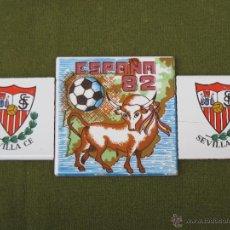 Antigüedades: LOTE DE TRES AZULEJOS - FUTBOL. ESPAÑA 82 - AZULEJO.. Lote 48222870
