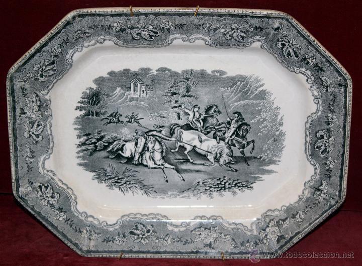 BANDEJA OCTOGONAL EN LOZA DEL SIGLO XIX. DE CARTAGENA FABRICA DE LA AMISTAD. SELLADA (Antigüedades - Porcelanas y Cerámicas - Cartagena)