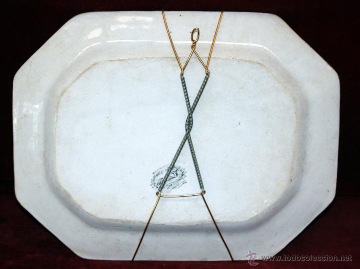 Antigüedades: BANDEJA OCTOGONAL EN LOZA DEL SIGLO XIX. DE CARTAGENA FABRICA DE LA AMISTAD. SELLADA - Foto 7 - 48247019