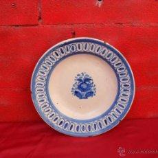 Antigüedades: ANTIGUO PLATO MANISES SIGLO XIX,30 CM DIAMETRO. Lote 48265152