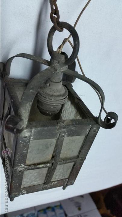 Antigüedades: FAROLILLO MUY ANTIGUO PARA COLGAR DE PARED.ES DE BRONCE,SIGLO XIX APROX - Foto 3 - 48265201