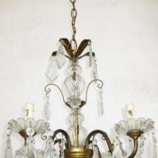 Antigüedades: GRAN LAMPARA CLASICA CIRCA 1910 METAL DORADO BRONCE GRANDES LAGRIMAS ARAÑA CRISTAL. Lote 48275128