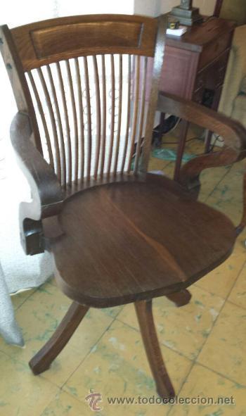 silla giratoria de oficina antigua de roble - Comprar Sillas ...
