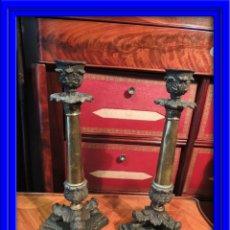 Antigüedades: CANDELEROS DE BRONCE DE EPOCA CARLOS X. Lote 53339615