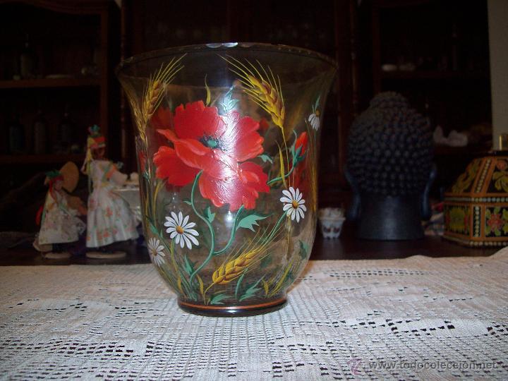 JARRON CRISTAL FLORES PINTADAS (Antigüedades - Cristal y Vidrio - Otros)