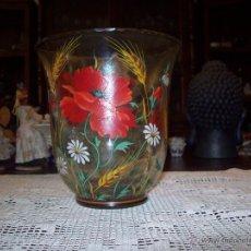 Antigüedades: JARRON CRISTAL FLORES PINTADAS . Lote 48311749