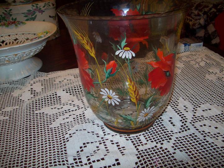 Antigüedades: Jarron cristal flores pintadas - Foto 2 - 48311749