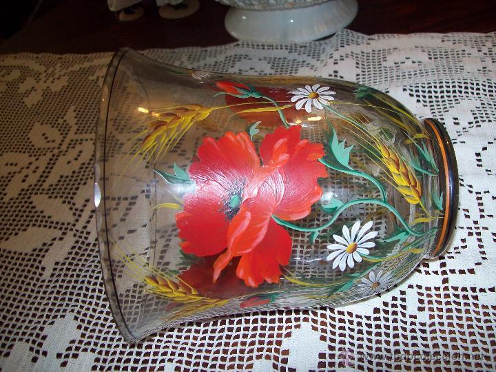 Antigüedades: Jarron cristal flores pintadas - Foto 3 - 48311749