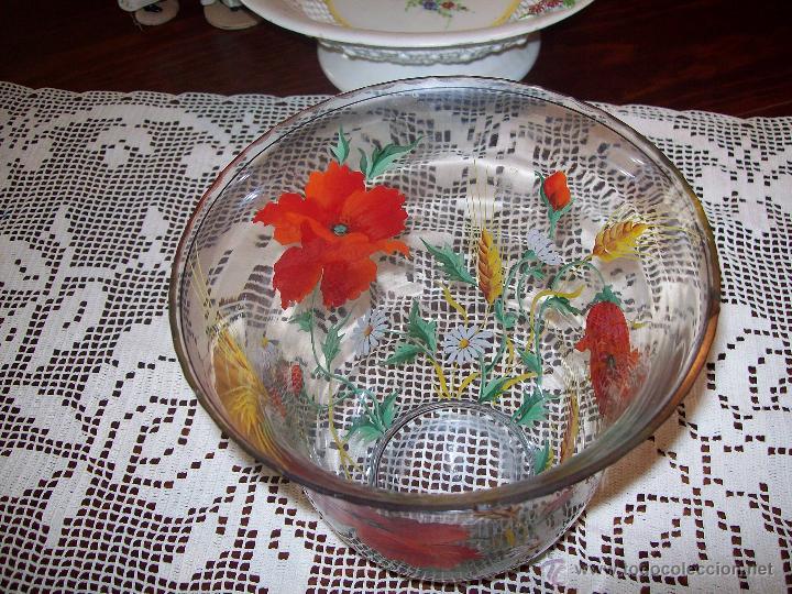 Antigüedades: Jarron cristal flores pintadas - Foto 4 - 48311749