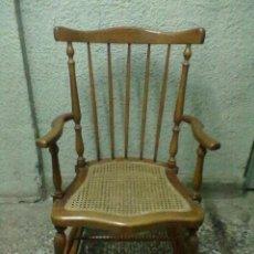 Antigüedades: SILLON WINDSOR MECEDORA ASIENTO REJILLA. Lote 48311995