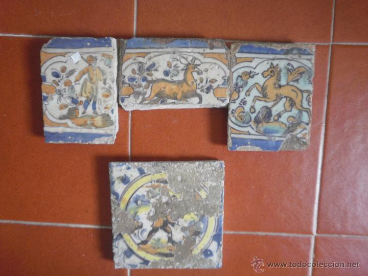 LOTE DE AZULEJOS ANTIGUOS. (Antigüedades - Porcelanas y Cerámicas - Triana)