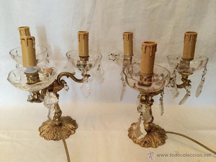 Antigüedades: soberbios candelabros de bronce y cristal. - Foto 2 - 27410046
