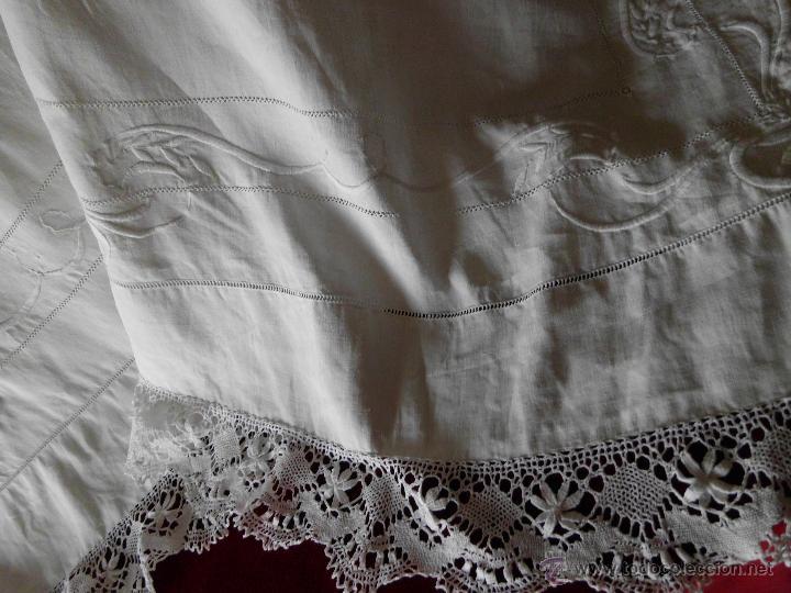 Antigüedades: Antigua sábana de Lino con Iniciales bordadas a mano - Foto 15 - 131438375