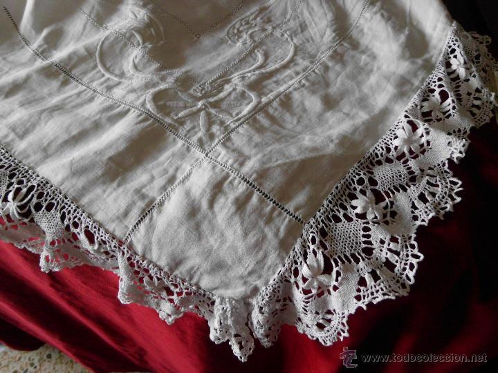 Antigüedades: Antigua sábana de Lino con Iniciales bordadas a mano - Foto 17 - 131438375