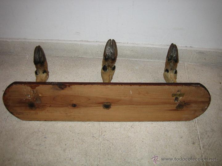 Antigüedades: Percha con patas de ciervo. Medidas 63X16 cm - Foto 6 - 48338362