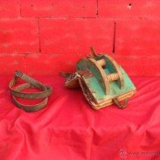 Antigüedades: BONITA Y SINGULAR SILLA PARA BURRO,TIENE RODAMIENTOS EN MADERA. Lote 48347519