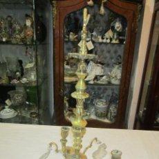 Antigüedades: ANTIGUA LÁMPARA DE TECHO, EN BRONCE Y CON CRISTALES. 45 CMS. LARGO X 21 DIÁMETRO.. Lote 48350295