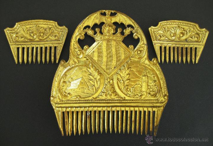 Antigüedades: FANTASTICA PEINETAS ANTIGUA FALLERA CON BARRACA Y MIGUELETE AÑOS 40 . SALUDES VALENCIA - Foto 3 - 48351598