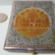 Antigüedades: ANTIGUA PITILLERA TAJ MAHAL GRABADO MANUAL - TECNICA NIELLO. Lote 121247803