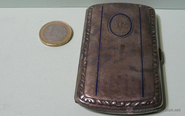 ANTIGUA PITILLERA DE MUJER EN ALPACA PLATEADA CON FECHA GRAVADA-16/10/1927 (Antigüedades - Plateria - Varios)