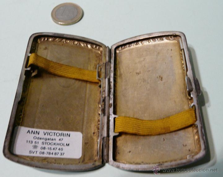 Antigüedades: ANTIGUA PITILLERA DE MUJER EN ALPACA PLATEADA CON FECHA GRAVADA-16/10/1927 - Foto 2 - 48376209