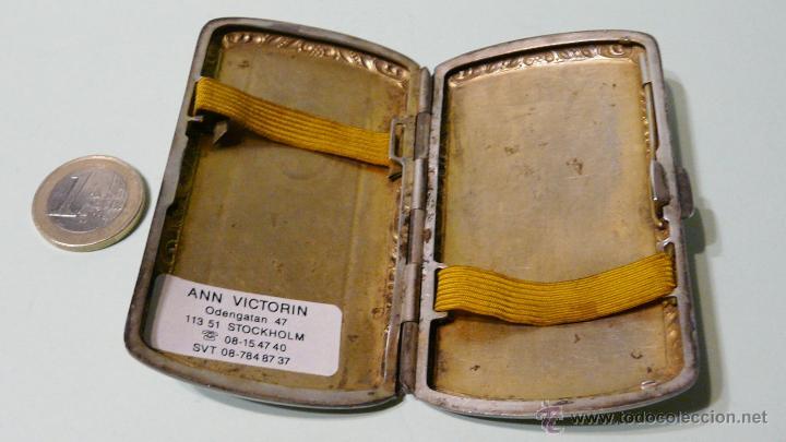 Antigüedades: ANTIGUA PITILLERA DE MUJER EN ALPACA PLATEADA CON FECHA GRAVADA-16/10/1927 - Foto 6 - 48376209