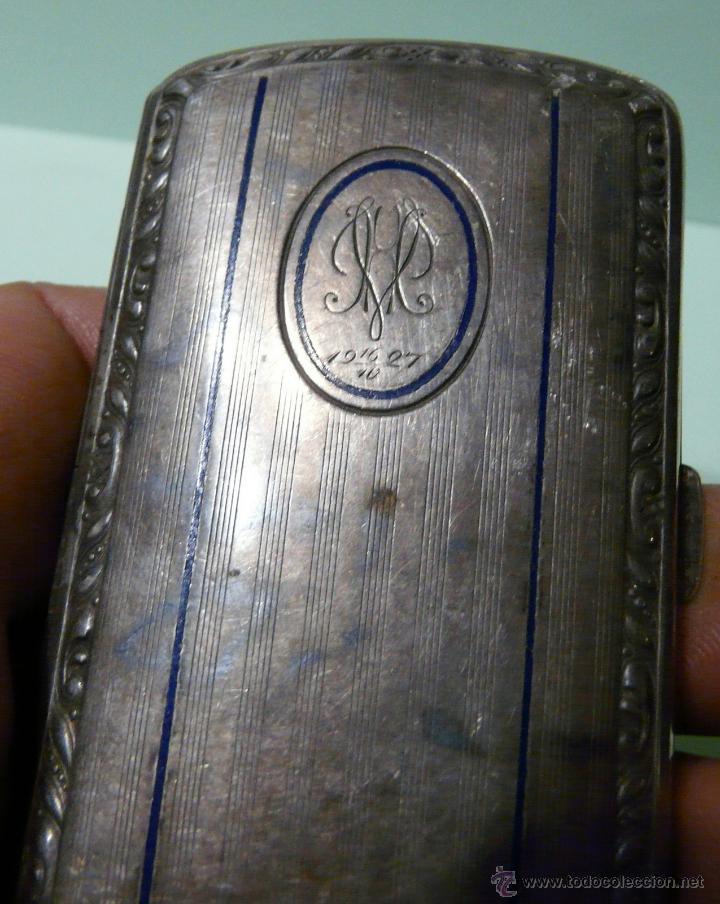 Antigüedades: ANTIGUA PITILLERA DE MUJER EN ALPACA PLATEADA CON FECHA GRAVADA-16/10/1927 - Foto 7 - 48376209