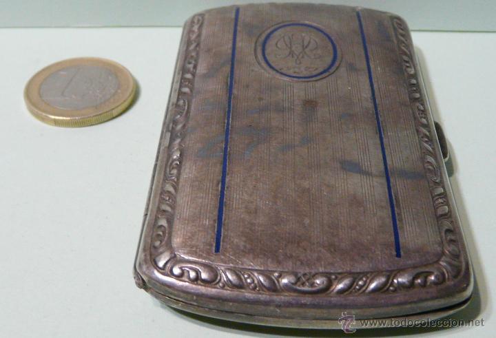 Antigüedades: ANTIGUA PITILLERA DE MUJER EN ALPACA PLATEADA CON FECHA GRAVADA-16/10/1927 - Foto 9 - 48376209