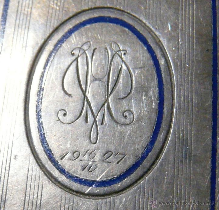 Antigüedades: ANTIGUA PITILLERA DE MUJER EN ALPACA PLATEADA CON FECHA GRAVADA-16/10/1927 - Foto 11 - 48376209