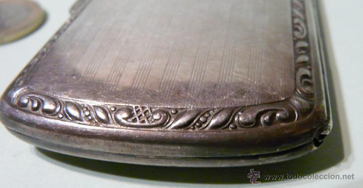 Antigüedades: ANTIGUA PITILLERA DE MUJER EN ALPACA PLATEADA CON FECHA GRAVADA-16/10/1927 - Foto 13 - 48376209