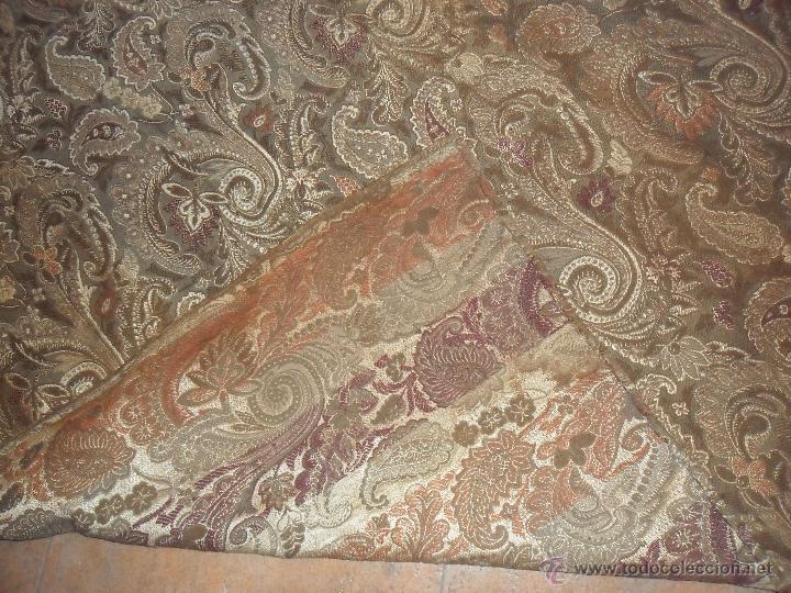 Antigüedades: ANTIGUA CORTINA SIGLO XIX, MEDIDAS 120X270 CM. PARA CORTINA O TAPICERIA. - Foto 4 - 103896464