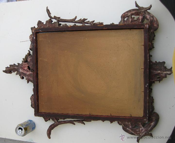 Antigüedades: MARAVILLOSO XVIII ESPEJO ROCOCO ORIGINAL CORNUCOPIA DORADA MARCO MADERA Y ESTUCO - Foto 2 - 48381382
