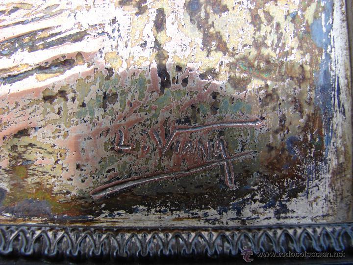 Antigüedades: BAJORRELIEVE SOBRE PLACA ANTIGUA DE METAL. SAN ANTONIO DE PADUA. FIRMADO, LORENZO FERNANDEZ DE VIANA - Foto 3 - 48407066