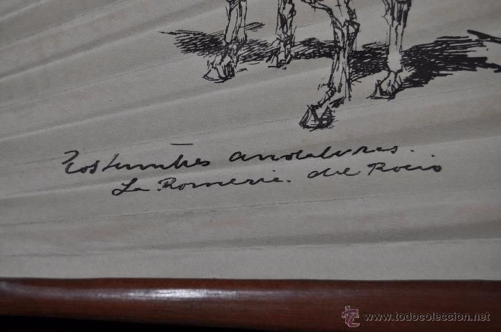 Antigüedades: ABANICO DE PRINCIPIOS DEL S. XX CON PAÍS LITOGRAFIADO DE APUNTES DE RICARDO MARIN - Foto 3 - 48421323