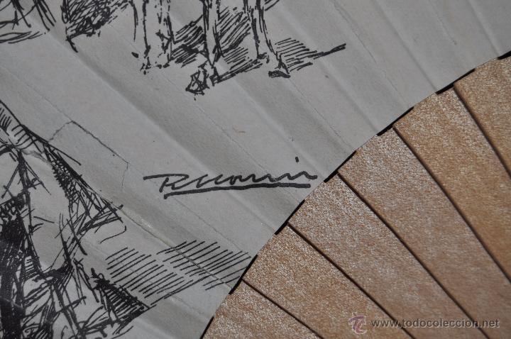 Antigüedades: ABANICO DE PRINCIPIOS DEL S. XX CON PAÍS LITOGRAFIADO DE APUNTES DE RICARDO MARIN - Foto 4 - 48421323