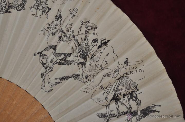 Antigüedades: ABANICO DE PRINCIPIOS DEL S. XX CON PAÍS LITOGRAFIADO DE APUNTES DE RICARDO MARIN - Foto 7 - 48421323