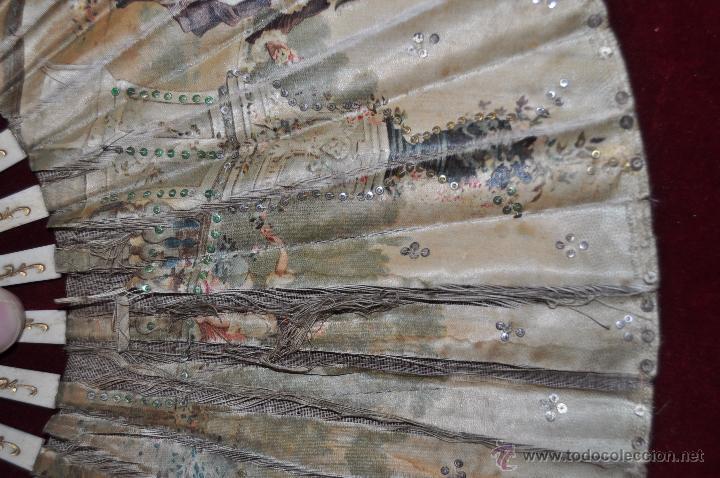 Antigüedades: ABANICO DE PRINCIPIOS DEL S. XX CON PAÍS LITOGRAFIADO SOBRE TELA Y VARILLAJE EN HUESO - Foto 5 - 48421964