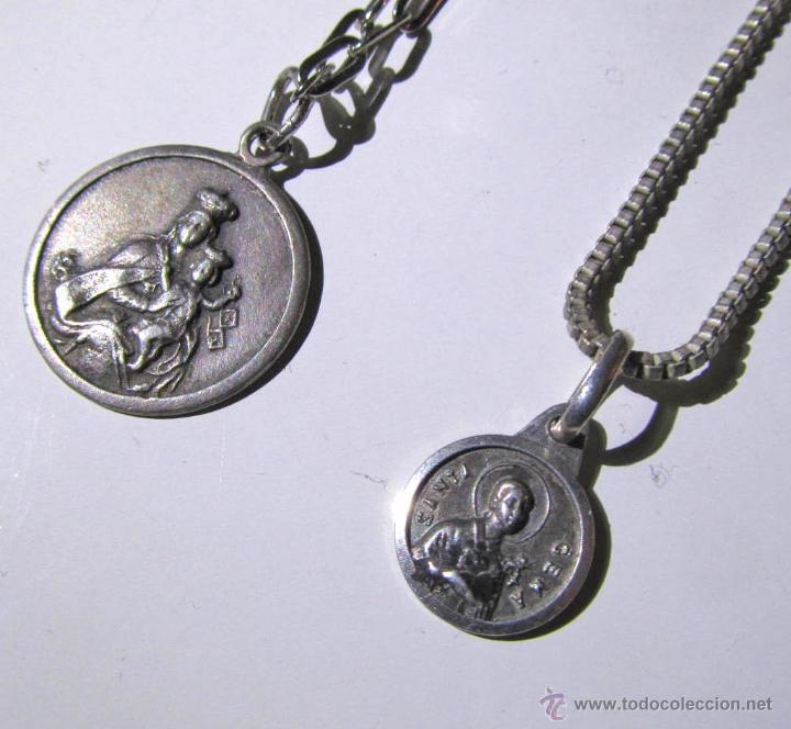 777f914445a6 5 fotos 2 MEDALLAS DE PLATA CON CADENAS DE PLATA (Antigüedades - Religiosas  - Medallas Antiguas) ...