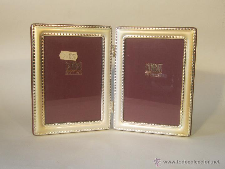 Antigüedades: portafotos doble en metal plateado de cambau - Foto 3 - 48428564