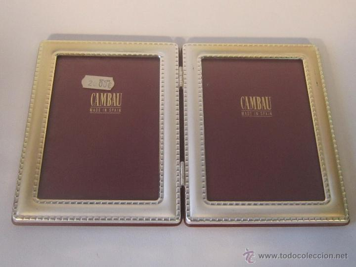 Antigüedades: portafotos doble en metal plateado de cambau - Foto 4 - 48428564