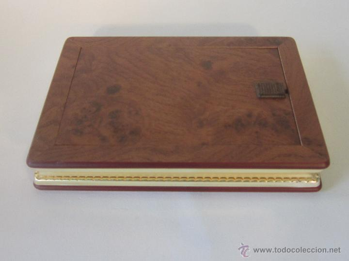 Antigüedades: portafotos doble en metal plateado de cambau - Foto 5 - 48428564