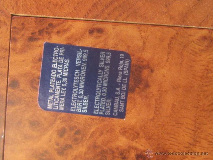 Antigüedades: portafotos doble en metal plateado de cambau - Foto 6 - 48428564