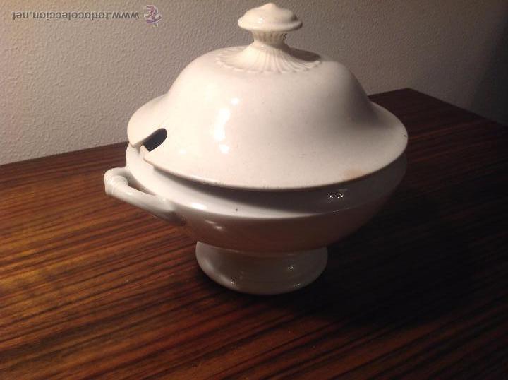 Antigüedades: sopera de loza blanca - Foto 4 - 48437064