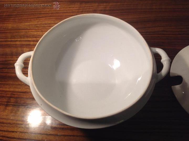 Antigüedades: sopera de loza blanca - Foto 9 - 48437064