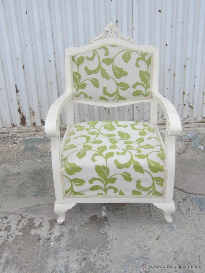 Sillon de madera antiguo pintado de blanco comprar - Muebles antiguos lacados en blanco ...