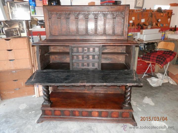 Antigüedades: arca escritorio siglo XVIII en nogal - Foto 2 - 48447143