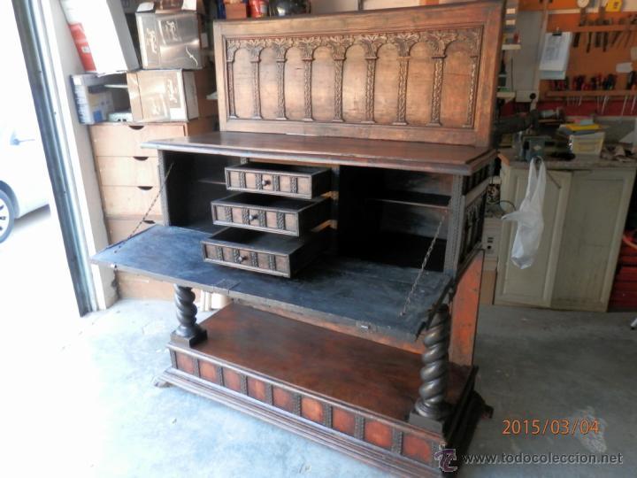 Antigüedades: arca escritorio siglo XVIII en nogal - Foto 3 - 48447143