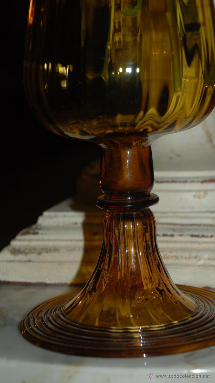 Antigüedades: PRECIOSA COPA FLORERO DE CRISTAL ÁMBAR - Foto 8 - 48455985